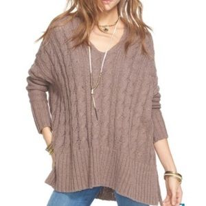 Free People Easy Cable Knit V-neck Sweater Small